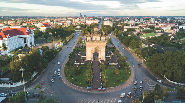 KJ7FT7 Drone photo of Patuxai, War Arch Monument in Vientiane Laos.